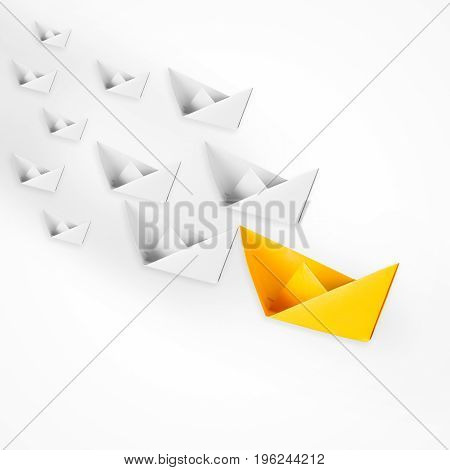 leadership concept with yellow paper boat leading