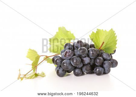 isolated grape and leaf