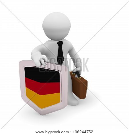 3d character holding a German badge manufacturing 3d concept rendering