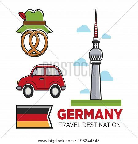 Germany travel destination promo banner. Berlin TV tower, old-fashioned car, sweet pretzel, traditional green hat with red feather and national flag isolated vector illustration on white background.