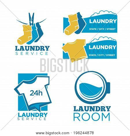 24h laundry room service isolated promotional emblems set. Warm socks on rope with pin, plain T-shirts and round washing machine drum with water isolated vector illustration on white background.