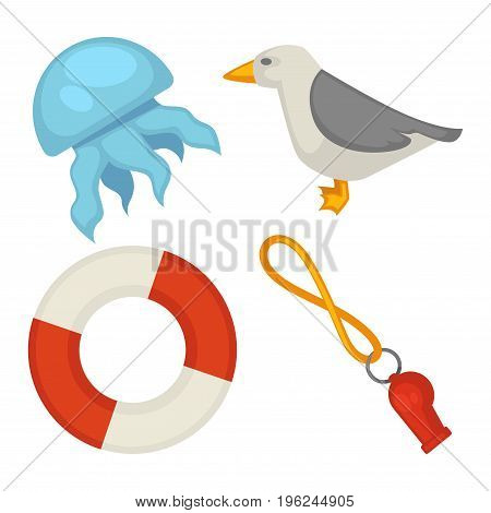 Blue jellyfish, white gull with folded gray wings, inflatable life buoy and red whistle on orange rubber band isolated cartoon vector illustration on white background. Sea themed flat objects.