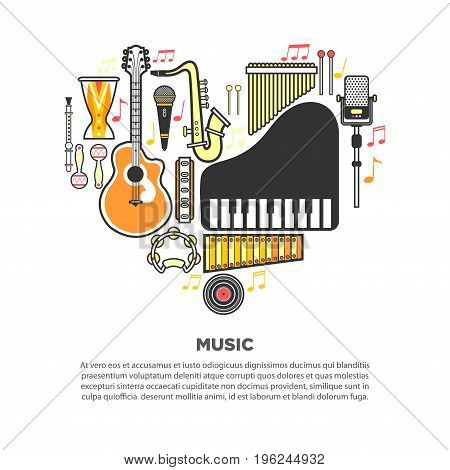 Melodic wind instruments, loud percussion, acoustic guitar, grand piano, authentic maracas and modern microphones formed in heart with vinyl record at bottom and text underneath vector illustration.