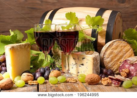 red wine with cheese and salami