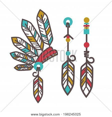 Authentic Injun hesdgear with colorful feathers and magical amulets with bright beads isolated flat cartoon vector illustrations on white background. Ethnic cultural garments with special power.