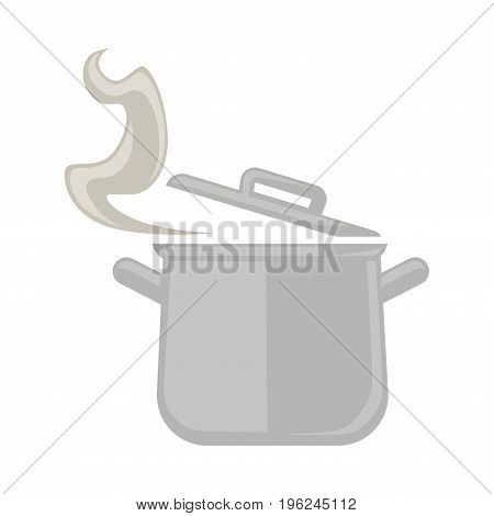 Capacious metal saucepan with two handles, open cover and steam that comes out isolated flat vector illustration on white background. Convenient kitchenware with hot fresh cooked food inside.