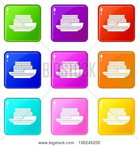 Large passenger ship icons of 9 color set isolated vector illustration