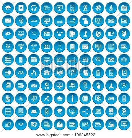 100 database and cloud icons set in blue circle isolated on white vector illustration
