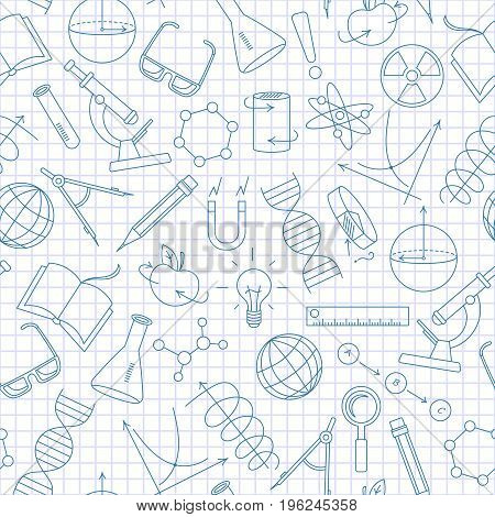 Seamless pattern on the theme of science and inventions diagrams charts and equipmenta simple contour icons dark blue outline on a light background in a cage
