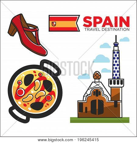 Spain travel destination promotional banner with national flag, authentic church of unique design, red shoe for flamenco performance and metal pan with traditional meal isolated vector illustration.