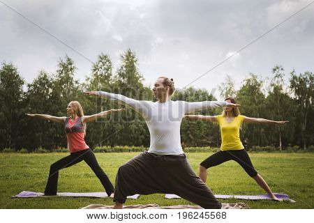 A group of yogis in a graceful pose during outdoor pursuits on the grass, summer