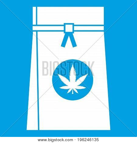Bag with cannabis icon white isolated on blue background vector illustration