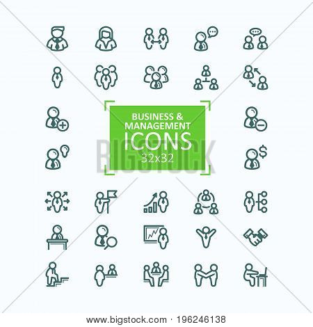 Set vector illustrations fine line icons, collection of business people icons, personnel management, agreement, handshake, leader, team, communication, subordination, negotiation. 32x32 pixel perfect