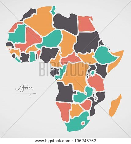 Africa Continent Map With States And Modern Round Shapes