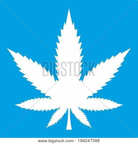 Cannabis leaf icon white isolated on blue background vector illustration
