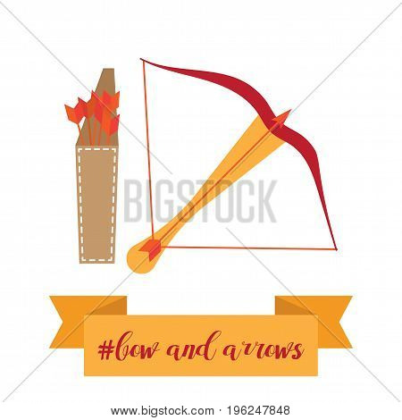 bow, quiver and arrows vector illustration, in flat design style