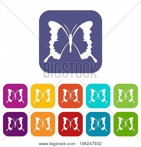 Swallowtail butterfly icons set vector illustration in flat style in colors red, blue, green, and other