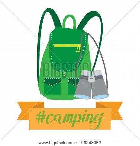 Backpacking, vector illustration isolated on white background