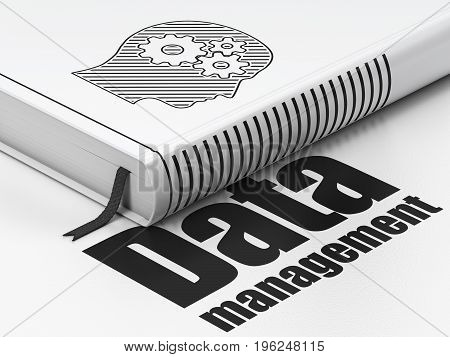 Data concept: closed book with Black Head With Gears icon and text Data Management on floor, white background, 3D rendering