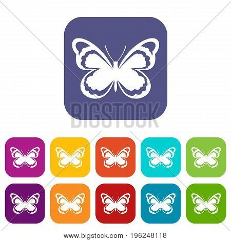 Small butterfly icons set vector illustration in flat style in colors red, blue, green, and other