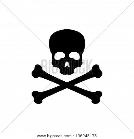 Black silhouette of skull and bones on white background. Pirate flag Jolly Roger. Poison Icon. Vector illustration