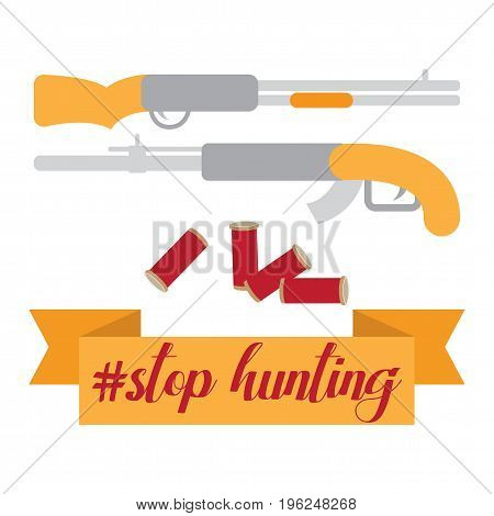 Flat vector illustration isolated on white, theme stop hunting