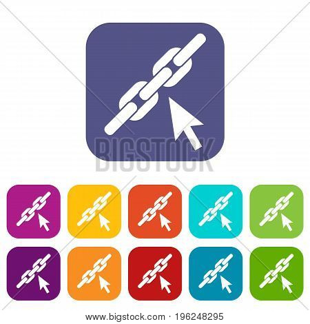 Chain link icons set vector illustration in flat style in colors red, blue, green, and other
