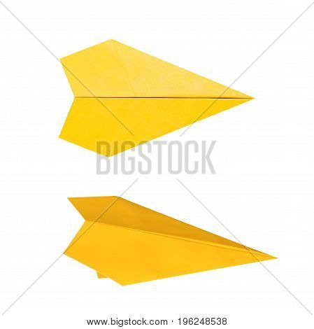 yellow paper plane or origami plane isolated on white