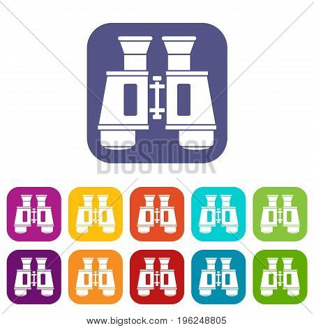 Binoculars icons set vector illustration in flat style in colors red, blue, green, and other