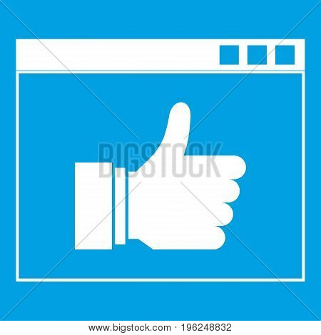 Hand with thumb up in browser icon white isolated on blue background vector illustration