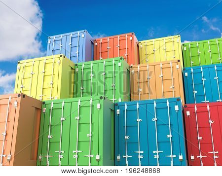 3d rendering heap of colorful containers with blue sky background