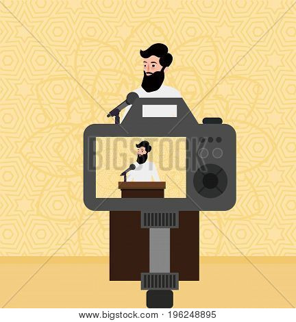 Islam preacher man teacher talking religious faith in camera screen video vector