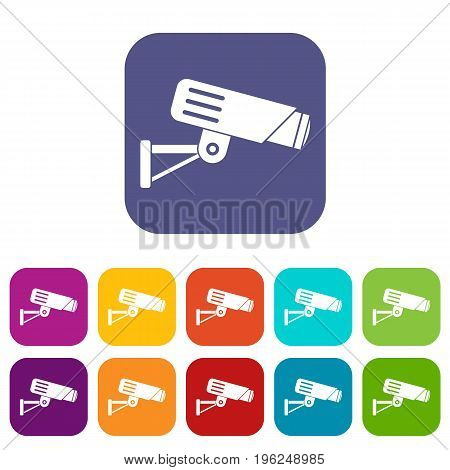 Security camera icons set vector illustration in flat style in colors red, blue, green, and other