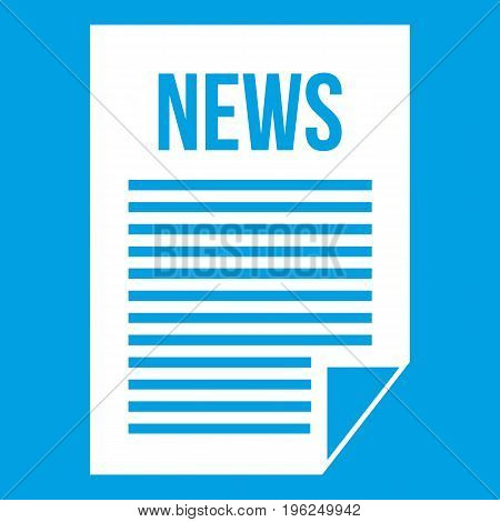 News newspaper icon white isolated on blue background vector illustration