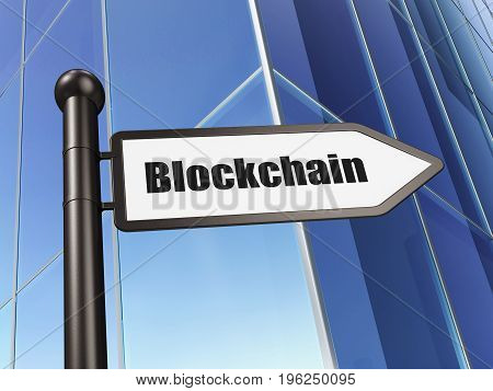 Currency concept: sign Blockchain on Building background, 3D rendering