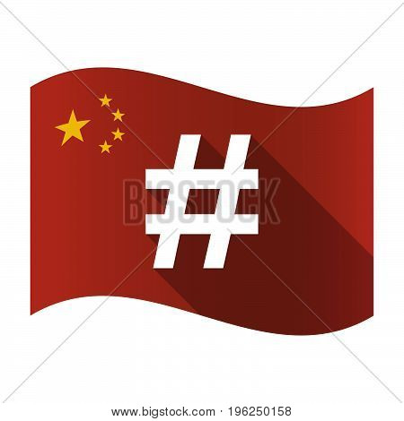 Isolated China Flag With A Hash Tag