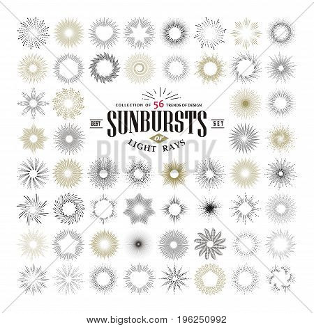 Hand drawn rays and starburst design elements. Collection of sunburst vintage style elements and icons for label and stickers