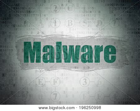 Privacy concept: Painted green text Malware on Digital Data Paper background with  Scheme Of Hexadecimal Code