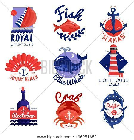 Set of nautical emblems for cafe, club, hostel with calligraphic letterings, anchor, sea animals isolated vector illustration