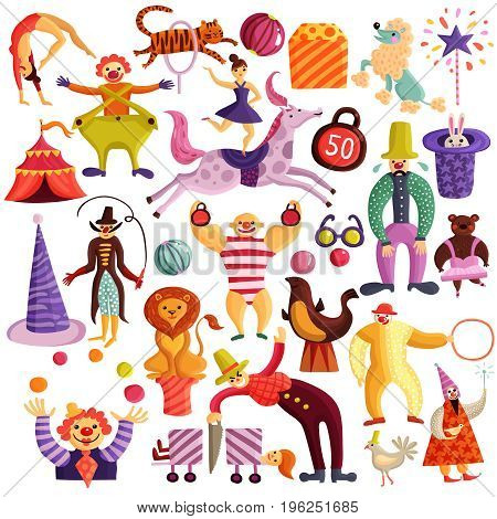 Circus decorative colorful icons set with red tent, clowns, acrobats, juggler, magicians, trained animals isolated vector illustration