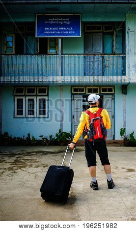 A Tourist Visit An Old Village In Yangon, Myanmar