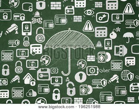 Privacy concept: Chalk White Umbrella icon on School board background with  Hand Drawn Security Icons, School Board