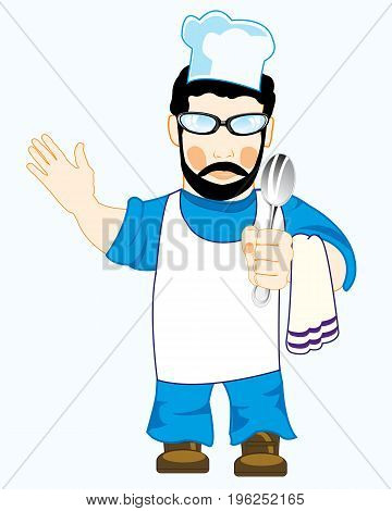 Vector illustration of the cook in robe and spoon in hand