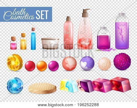 Bath handmade cosmetics collection on transparent background with colorful squeeze bottles soap balls and shower pouf vector illustration