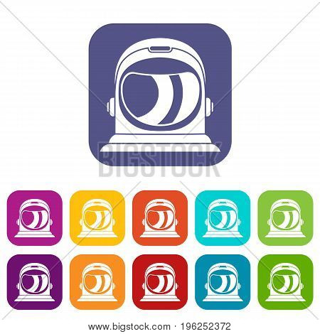 Space helmet icons set vector illustration in flat style in colors red, blue, green, and other