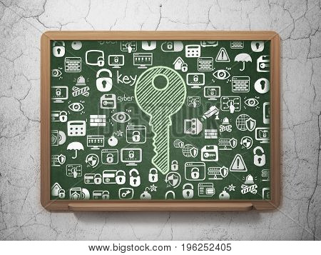 Safety concept: Chalk Green Key icon on School board background with  Hand Drawn Security Icons, 3D Rendering