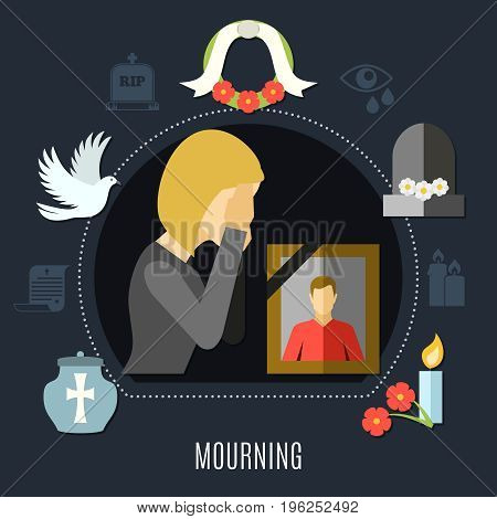 Mourning concept set with photo flowers and tears flat vector illustration