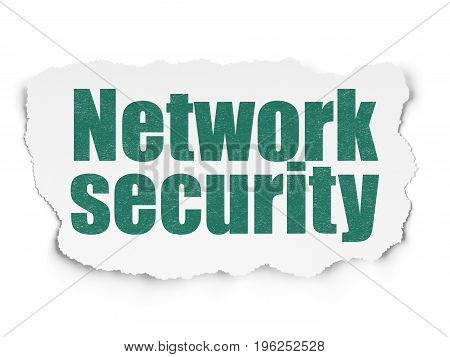 Security concept: Painted green text Network Security on Torn Paper background with  Tag Cloud