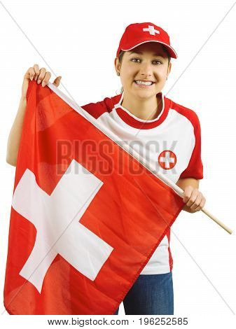 Photo of a beautiful sports fan from Switzerland holding a Swiss flag.
