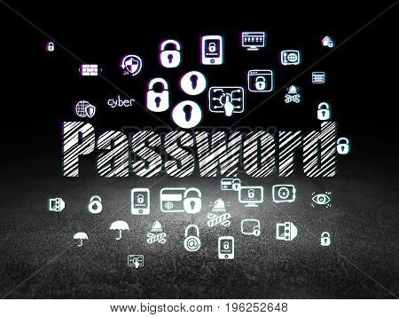 Safety concept: Glowing text Password,  Hand Drawn Security Icons in grunge dark room with Dirty Floor, black background
